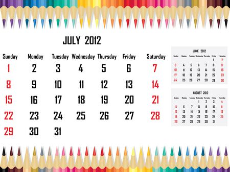 Calendar 2012 July Stock Vector - 11059673