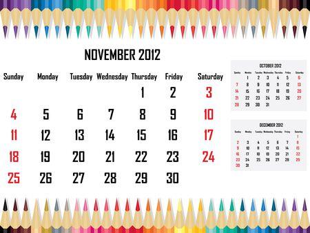 Calendar 2012 November Stock Vector - 11059682