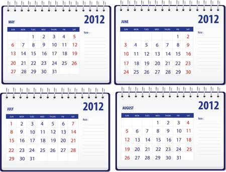 Calendar 2012, 2nd set for May to Augest Vector