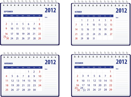 Calendar 2012, 3rd set for September to December Vector
