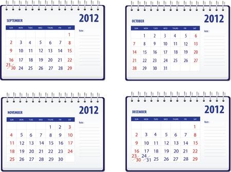 Calendar 2012, 3rd set for September to December Vector