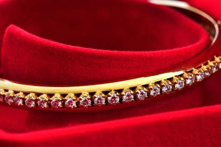 bangle: Diamond on the golden bracelet  Stock Photo