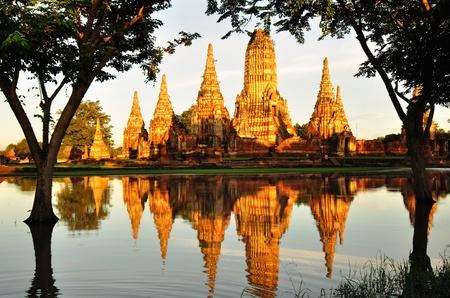 Old Temple in the evening, Wat Chai Wattanaram, Ayuthaya - Thailand photo