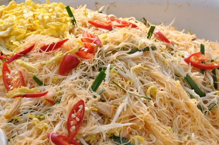 fried noodle: Thin rice noodles, Thai Food Stock Photo