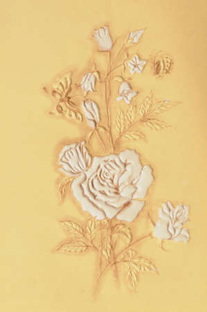 wedding reception decoration: Card with Rose Flower in vintage style