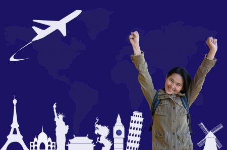 Happy Asian Girl with traveling plan photo