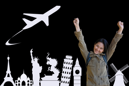 Asian Girl Backpacker Travel Around the World, Travel Concept photo