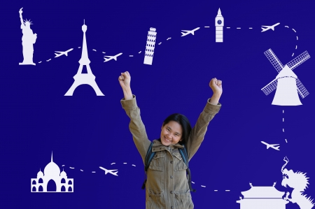 Asian Girl with Traveling Plan photo