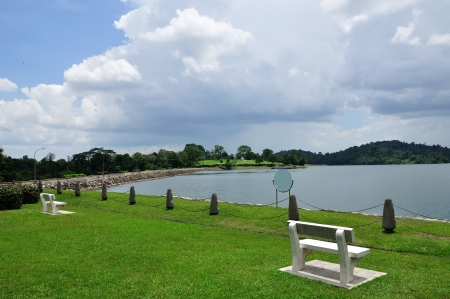 reservoir: bench and scenic park