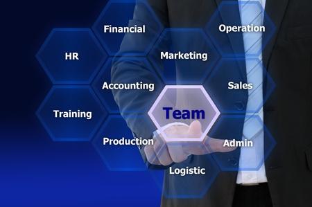 Business hand touch team network, present teamwork concept Stok Fotoğraf