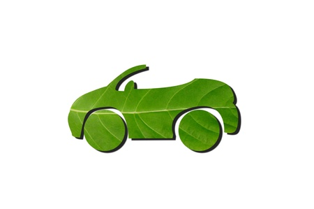 Green car from leaf with shadow photo