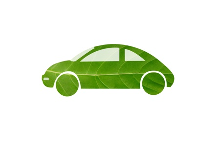 Green car from leaf photo