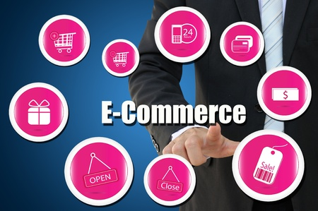 e commerce icon: Businessman with E Commerce icon for business online concept Stock Photo