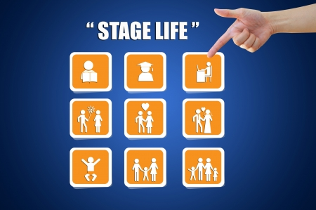 Hand pointing life stage icon concept Stock Photo
