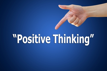 Business hand pointing positive thinking concept Stock Photo
