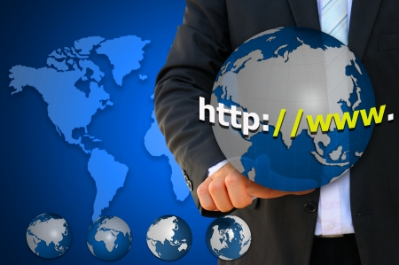 businessman pointing earth with internet browser  photo