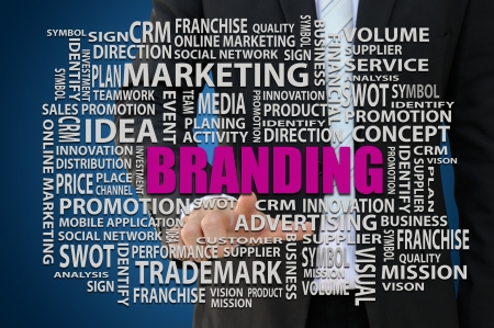 franchise: Businessman pointing branding word of marketing concept