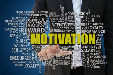 initiative: Businessman pointing key word for business motivation concept Stock Photo