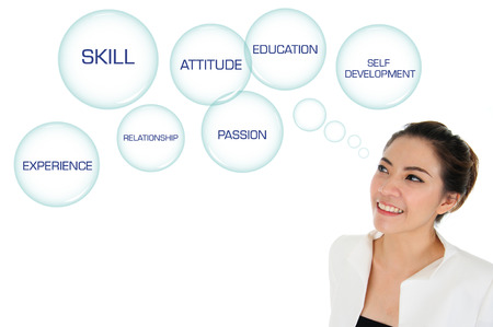 self development: Business woman looking at self development plan Stock Photo