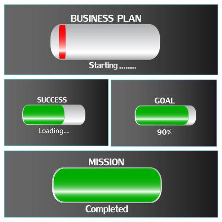 realizować: Ładowanie biznes plan do sukcesu i osiągnąć cel misji Ilustracja