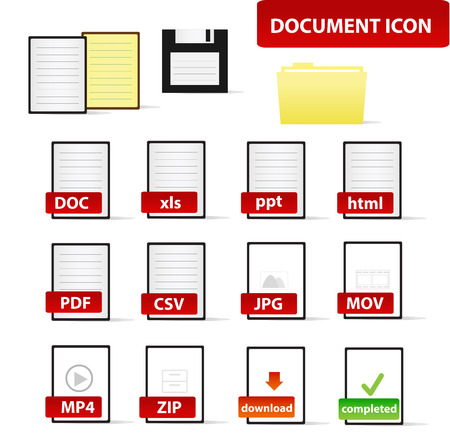 formats: Document Icon Set for Business and Education Professional