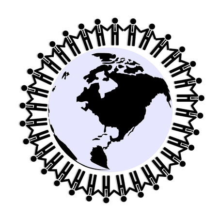 hold hand: Businessman hold hand together around world, teamwork for unity concept