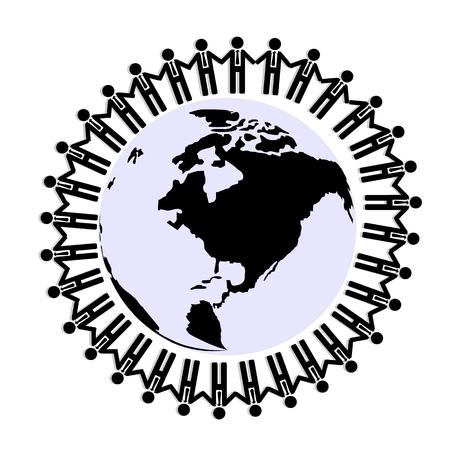 hold hand: Uomo d'affari stretta mano insieme in tutto mondo, il lavoro di squadra per il concetto di unit�