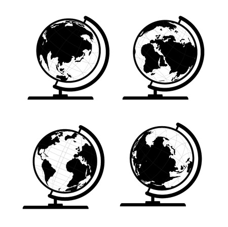 globe  the terrestrial ball: Vector set of 3D world map or globe, series 3 globe with stand