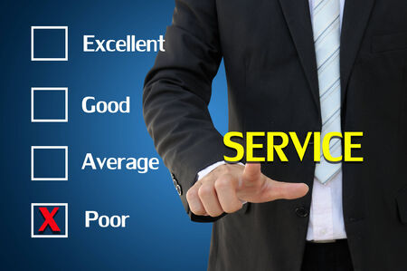 Business hand pointing service of questionnaire for poor concept