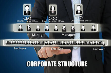 coo: Business hand pointing corporate structure chart