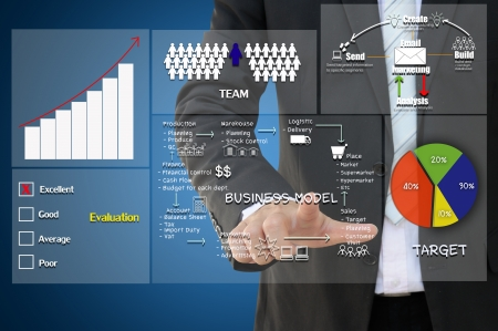 outsource: Business hand with business concept Stock Photo