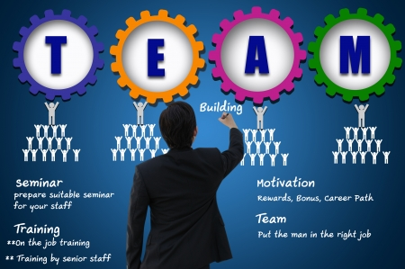 vision concept: Business man with team building concept