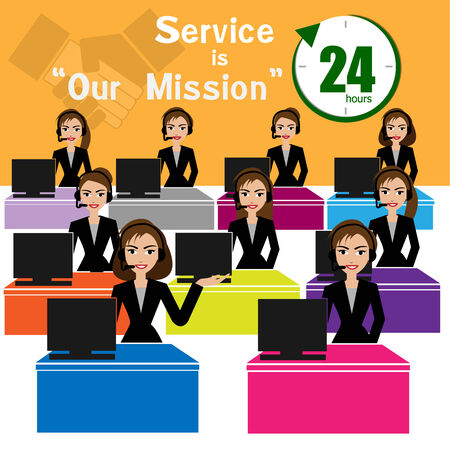 call center: Vector of call center for best service concept