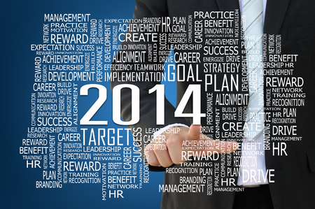 core strategy:  Businessman pointing 2014 business concept  Stock Photo