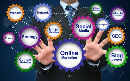 strategy: Concepto de Marketing Online Foto de archivo