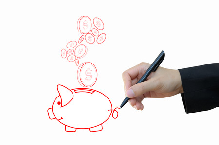Business hand drawing piggy bank for keeping and investment for financial concept photo
