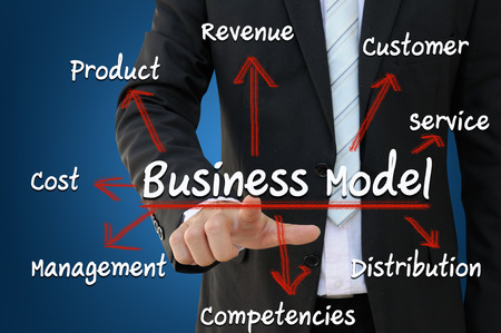 distributor: Businessman pointing business model concept