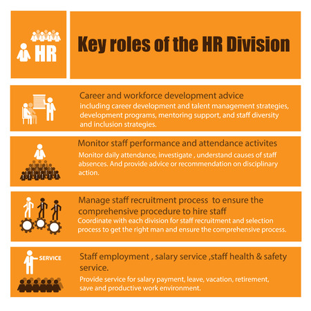 role: Infographic of Human Resource function, role and responsibility for business concept Illustration