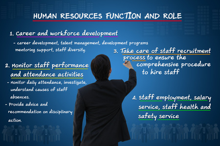 Businessman writing human resource function and roles photo