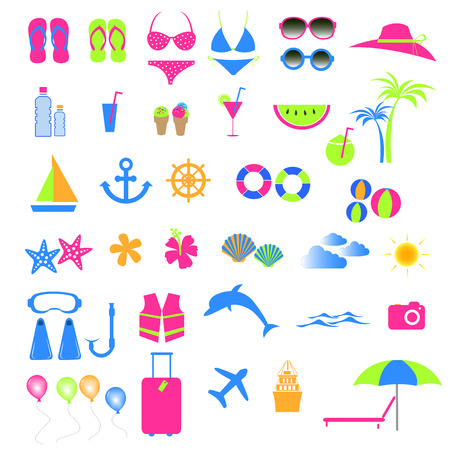 Colorful summer and beach icon  Vector