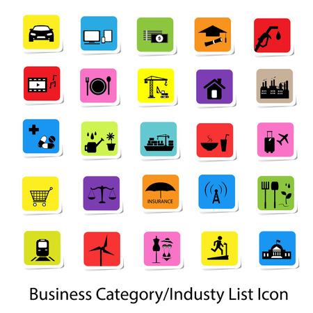 Coloré Catégorie d'affaires et de l'industrie Liste des icônes