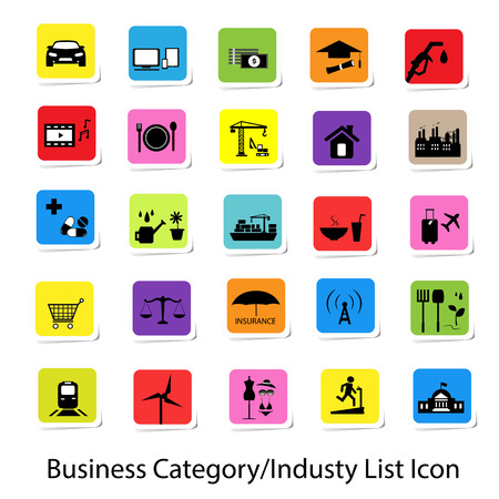 category: Colorful Business Category and Industry List Icon Illustration