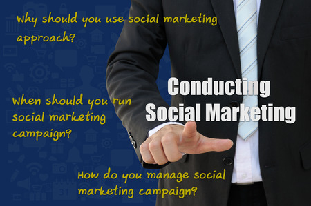 Social Marketing for how to conduct campaign, online marketing of business concept photo