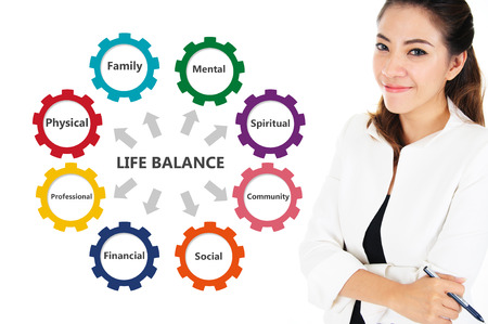 crecimiento personal: Empresaria con la carta equilibrio de la vida, concepto de negocio