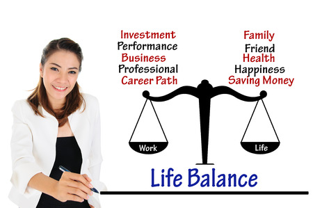 Businesswoman writing work life balance of business concept
