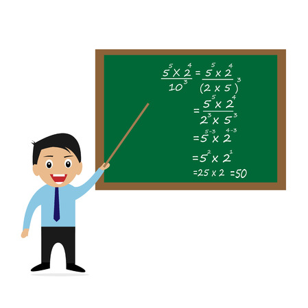 Teacher teaches mathematics Vector