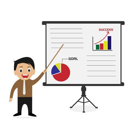 Businessman present business chart