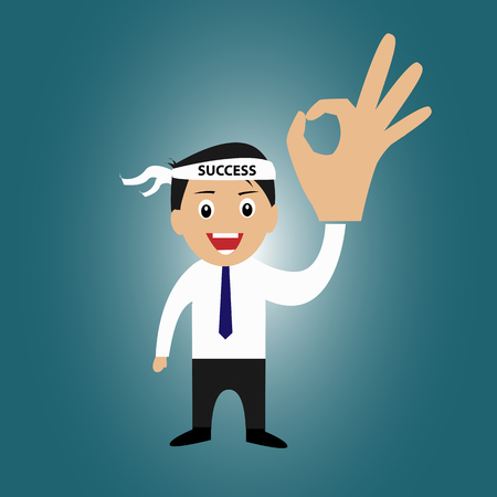 acceptation: Businessman with success head band and ok sign