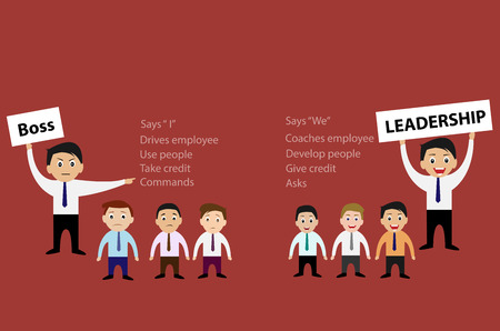 Vector of Boss and Leadership for Business Teamwork Concept Çizim