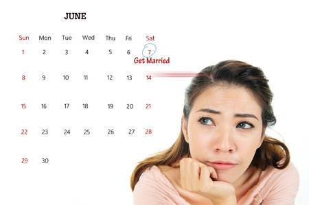 not ready: Nervous woman thoughtful and unsure about wedding or get married, love concept